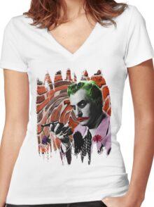 The Joker + Vincent Price Mashup Women's Fitted V-Neck T-Shirt