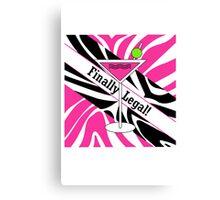 Pink black white zebra martini 21st finally legal geek funny nerd Canvas Print