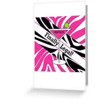 Pink black white zebra martini 21st finally legal geek funny nerd Greeting Card
