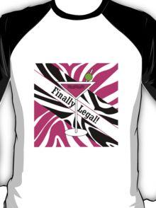 Pink black white zebra martini 21st finally legal geek funny nerd T-Shirt