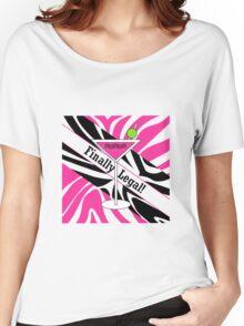 Pink black white zebra martini 21st finally legal geek funny nerd Women's Relaxed Fit T-Shirt