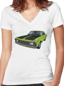 Chrysler Valiant VG Pacer Coupe - Green Go Women's Fitted V-Neck T-Shirt