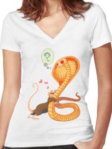 Rat Loves Snake Women's Fitted V-Neck T-Shirt