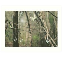 paper cranes hang from wooden branches Art Print