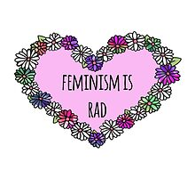 Feminism is Rad Heart - Pink With Purple Floweres by seasmiles