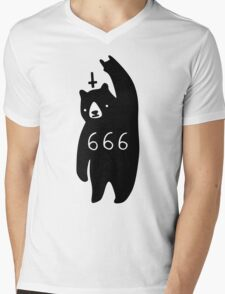 Black Bear Metal Mens V-Neck T-Shirt