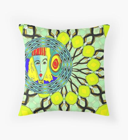 Lady in Green Throw Pillow