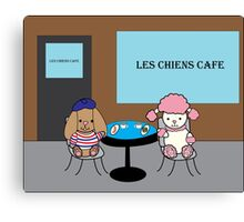 French Dogs at a Cafe Canvas Print