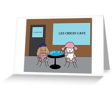 French Dogs at a Cafe Greeting Card
