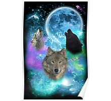 Wolves Mystical Night Poster