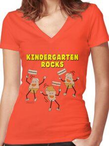 Kindergarten Rocks Women's Fitted V-Neck T-Shirt