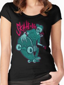 Skate and Die blue Women's Fitted Scoop T-Shirt