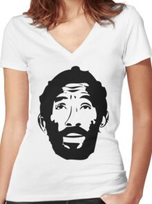 Lee Scratch Perry Reggae Stencil Women's Fitted V-Neck T-Shirt