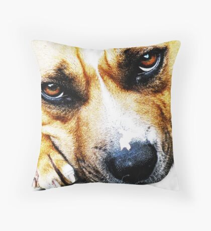 Bull Terrier Eyes Throw Pillow