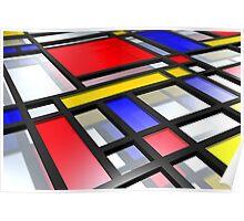 Mondrian Inspired 3D Poster