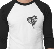 Jet Black Heart (pocket) Men's Baseball ¾ T-Shirt