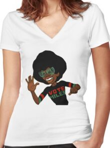 Vote For Miles Davis Jazz Women's Fitted V-Neck T-Shirt