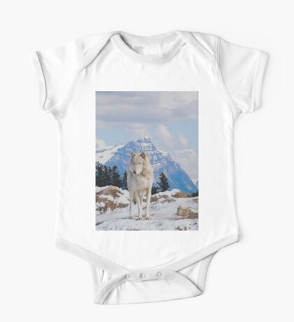 White Grey Wolf & Rocky Mountains Art  One Piece - Short Sleeve