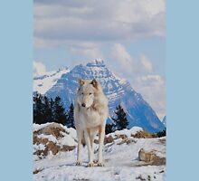 White Grey Wolf & Rocky Mountains Art  T-Shirt