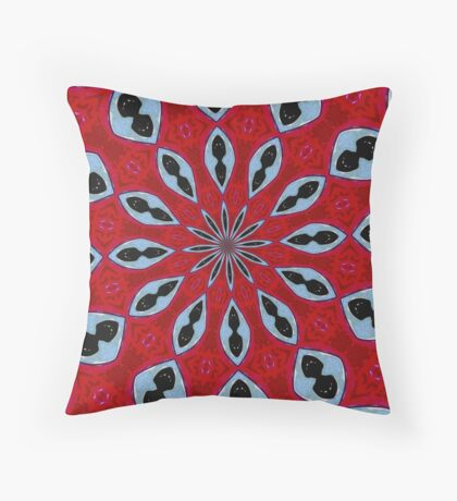 Patterned Kaleidoscope in Red and Light Blue Throw Pillow