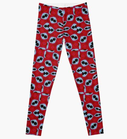 Patterned Kaleidoscope in Red and Light Blue Leggings