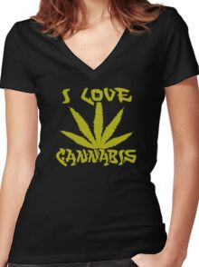 I Love Cannabis Women's Fitted V-Neck T-Shirt