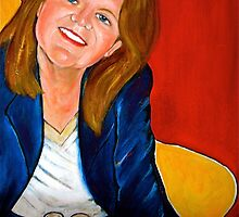 Self-portrait in red, blue and yellow  by vickimec