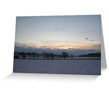Snowy sunset1 Greeting Card