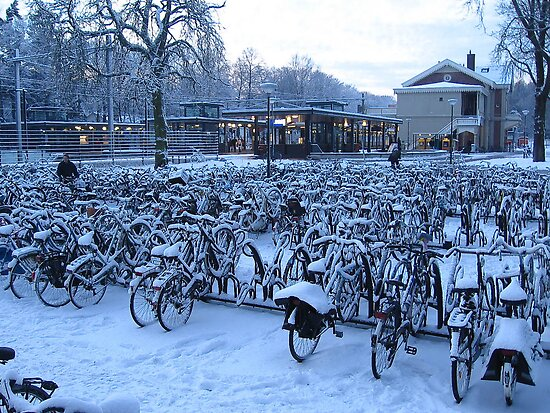 bicycles at the station in the snow by schaduwvacht