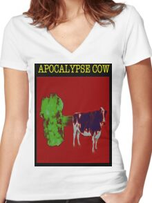 Apocalypse cow backfire Women's Fitted V-Neck T-Shirt