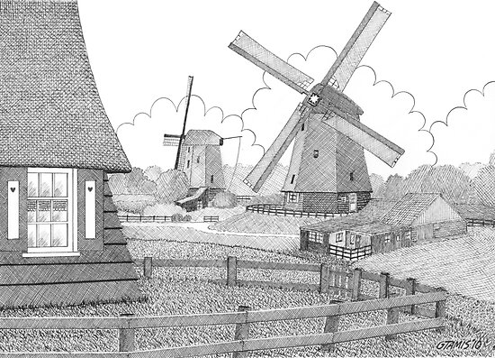 MILLS FROM 1633 IN THE SCHERMERPOLDER - PEN DRAWING by RainbowArt