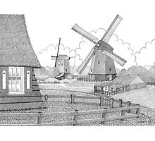 MILLS FROM 1633 IN THE SCHERMERPOLDER - PEN DRAWING Photographic Print