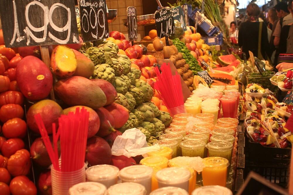 Boqueria market Barcelona - Colorful Juices by Ilan Cohen