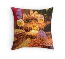 Boqueria market Barcelona - Piles of Eggs Throw Pillow