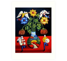 Softvase with flowers and figures Art Print