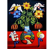 Softvase with flowers and figures Photographic Print