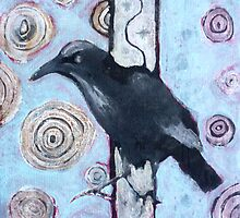 Crow, ink resist on canvas by Sandrine Pelissier