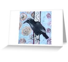 Crow, ink resist on canvas Greeting Card