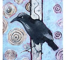 Crow, ink resist on canvas Photographic Print