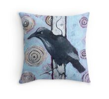 Crow, ink resist on canvas Throw Pillow