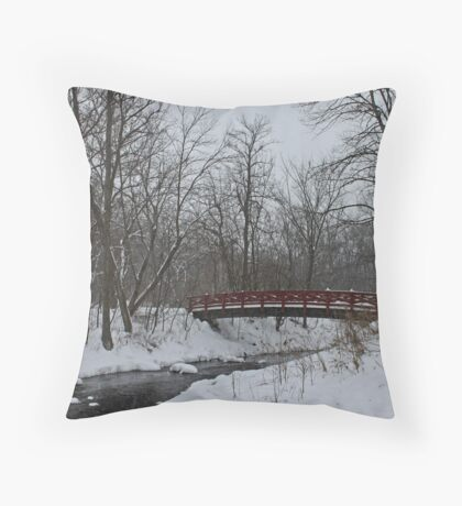 Little Red Foot Bridge Throw Pillow
