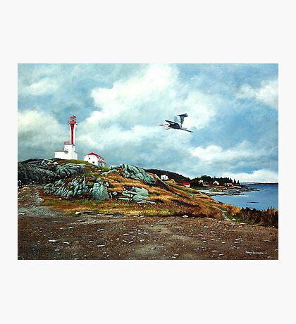 Blue Heron  Yarmouth Light Photographic Print