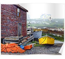 Yellow Skiff - Peggy's Cove Poster
