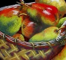 Pears and Apples  Pastel painting Sticker