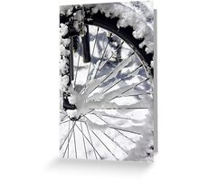 Snow on a bicycle wheel Greeting Card