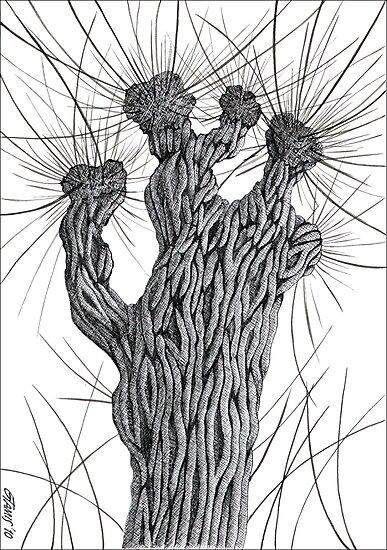 Pollard Willow Tree - Pen Drawing by RainbowArt