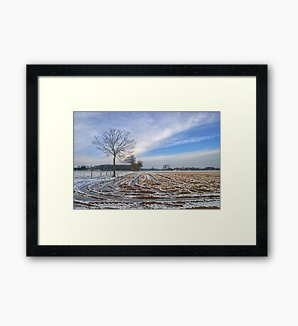 Frozen fields in Flanders Framed Print