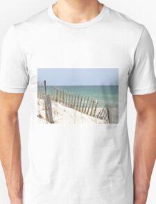 Ocean view through the beach fence Unisex T-Shirt