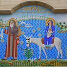 Mosaic of Joseph, Mary and Infant Jesus by Laurel Talabere