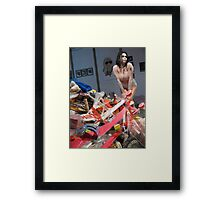 Sexy doll in trash Framed Print